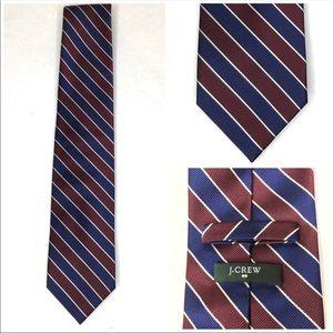 J. Crew 100% silk navy maroon striped tie classic preppy school uniform